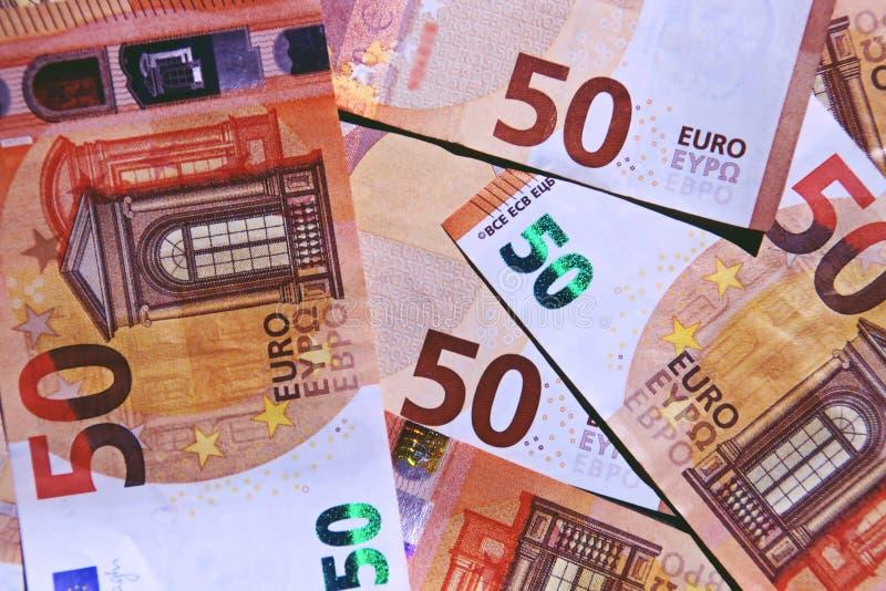 Fond de 50 billets de banque d'euros photos stock