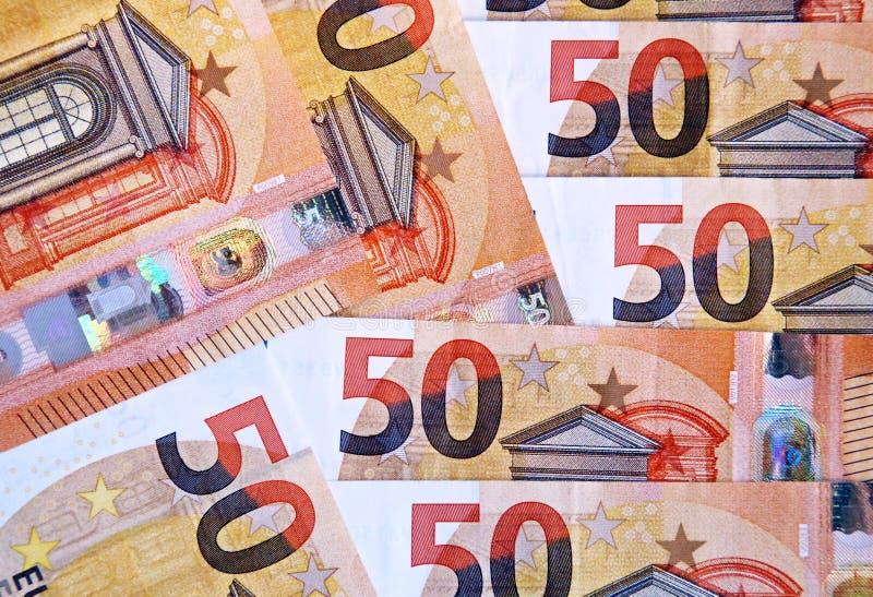 Fond de 50 billets de banque d'euros photo libre de droits