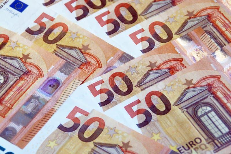 Fond de 50 billets de banque d'euros image stock