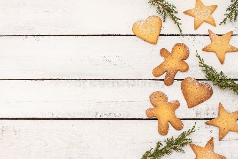 Fond de biscuits de Noël avec l'espace de texte libre image stock