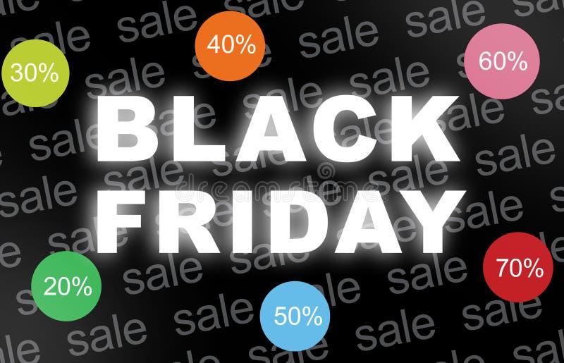 Fond de Black Friday avec avec des icônes de remise images stock