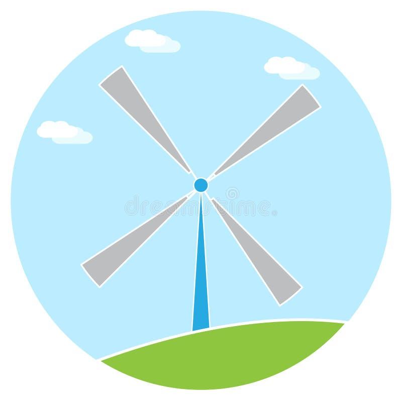 Fond de blanc d'herbe verte de ciel bleu d'illustration de moulin à vent illustration libre de droits