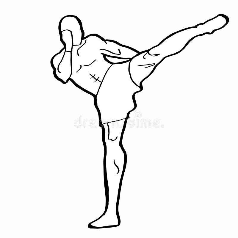 Fond de blanc d'illustration de dessin de boîte de coup-de-pied illustration libre de droits