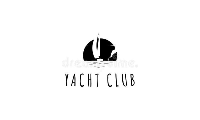 Fond de blanc d'image de logo de vecteur de noir de club de yacht illustration libre de droits