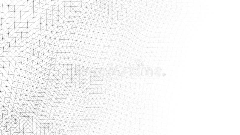 Fond de blanc d'onde Ondulez avec les points et les lignes se reliants sur le fond fonc? Vague des particules rendu 3d image stock