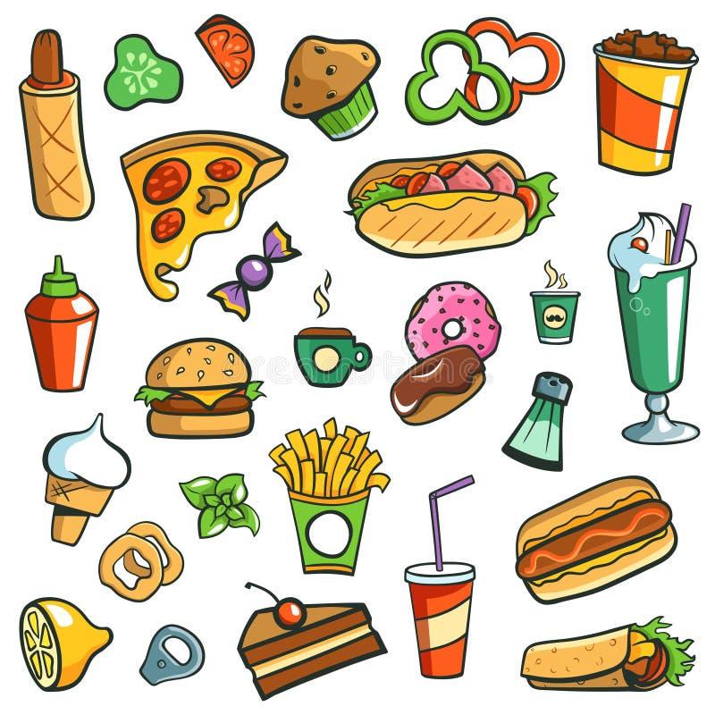 Fond de blanc de dessins d'aliments de préparation rapide illustration de vecteur