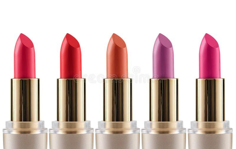 Fond de blanc de Matte Lipstick Colors Isolated On images stock