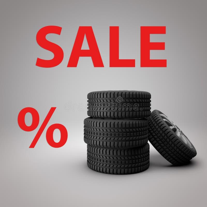 Fond de blanc de photo de la vente 3D de pneu illustration de vecteur