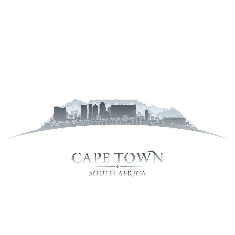 Fond de blanc de silhouette d'horizon de ville de Cape Town Afrique du Sud illustration de vecteur