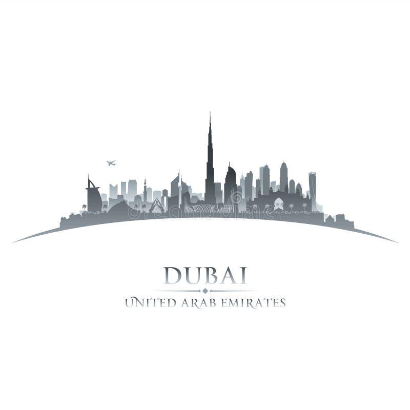 Fond de blanc de silhouette d'horizon de ville de Dubaï EAU illustration de vecteur