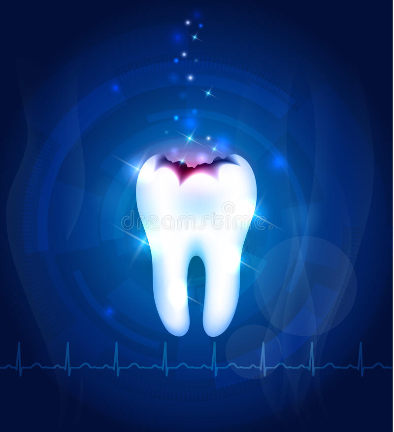 Fond de bleu d'abrégé sur carie dentaire illustration de vecteur