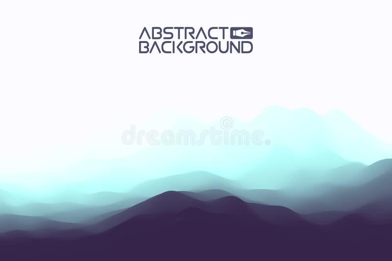 fond de bleu d'abrégé sur le paysage 3D Illustration bleue de vecteur de gradient Ordinateur Art Design Template Paysage avec illustration de vecteur