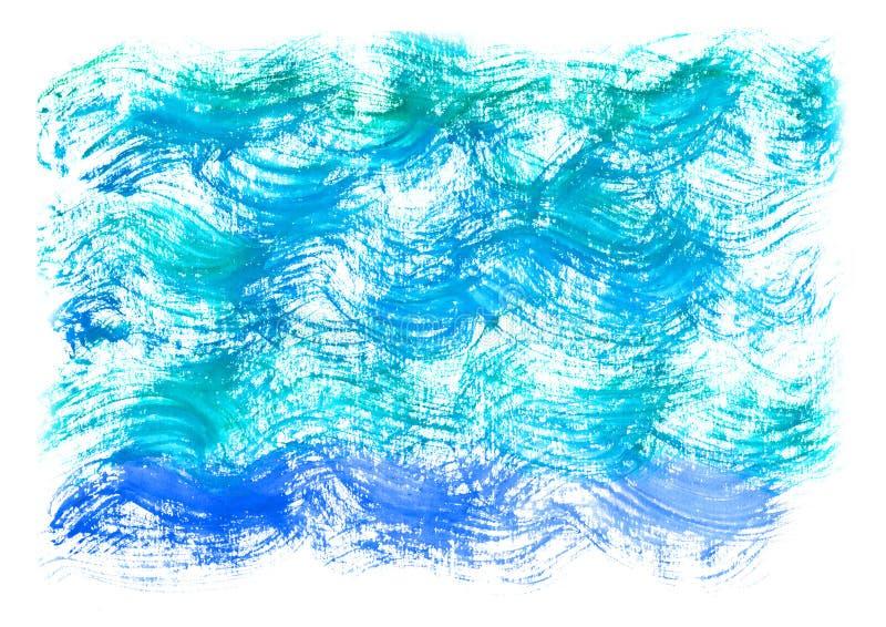 Fond de bleu d'aquarelle Vague artistique de mer d'aquarelle, l'eau, ciel illustration stock