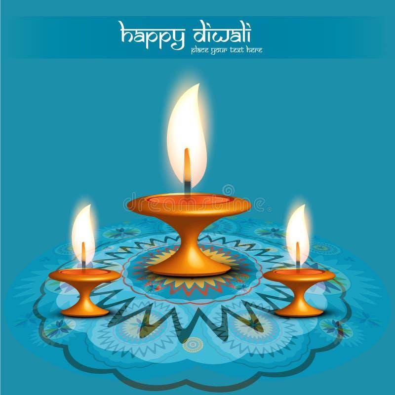 Fond de bleu de diya de diwali de Rangoli