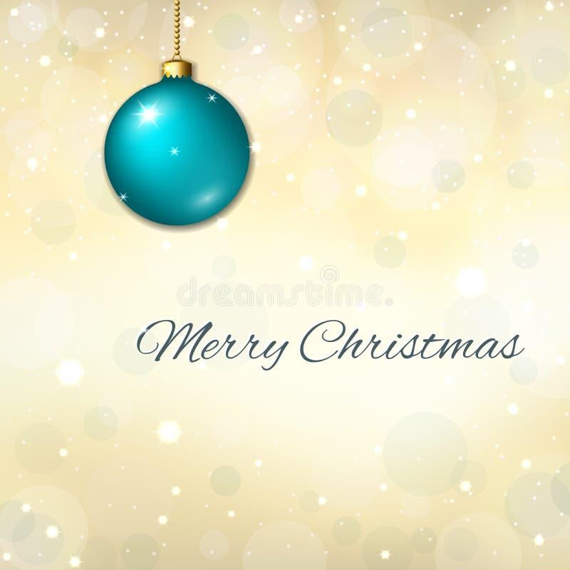 Fond de bleu de Joyeux Noël décoration bleue de la babiole 3d, étoiles, scintillement, flocons de neige blancs d'hiver Carte lumi illustration libre de droits