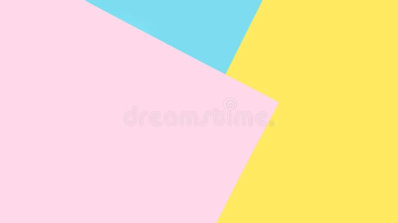 Fond de bleu, rose, papiers jaunes Fond géométrique et minimal dans des couleurs en pastel image stock
