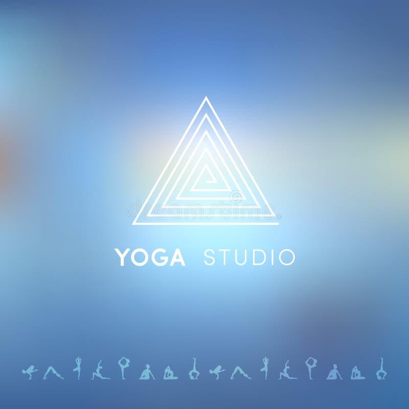 Fond de Blured avec le logo de yoga illustration stock