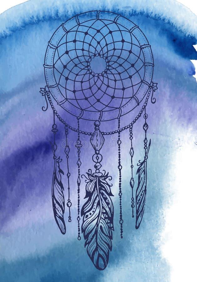 Fond de Bohème de style avec le modèle tiré par la main de mandala illustration de vecteur