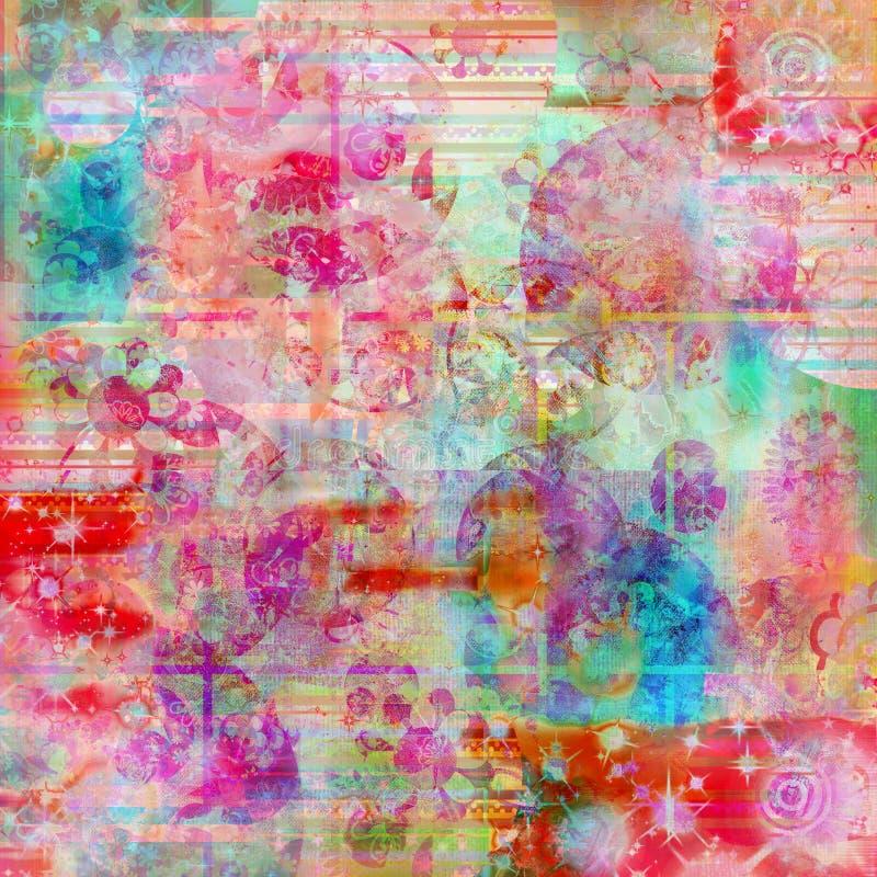 Fond de Bohème de texture de couleur d'eau de batik illustration de vecteur