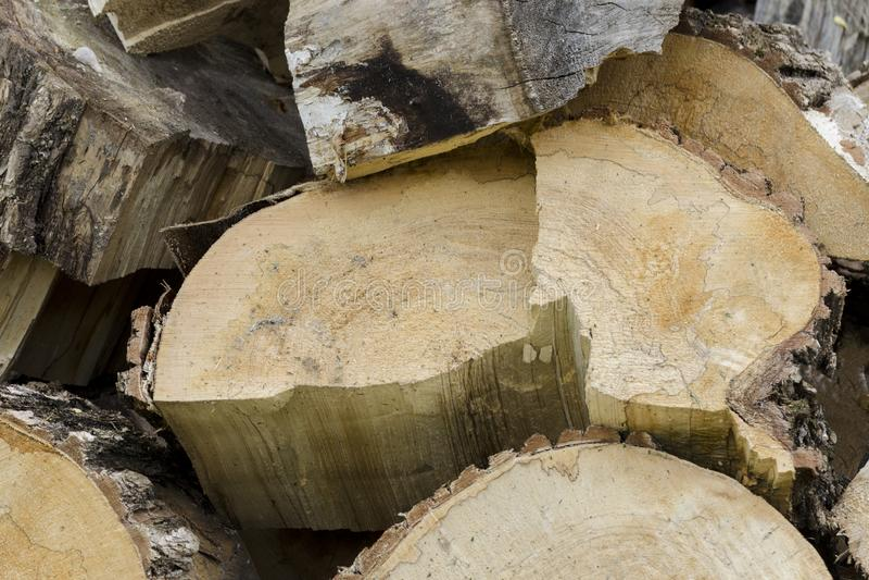 Fond de bois de construction en bois de piles Les scies ont coupé les rondins en bois images stock