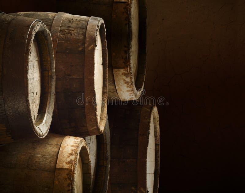 Fond de bois de serre à raisin d'alcool de baril images stock