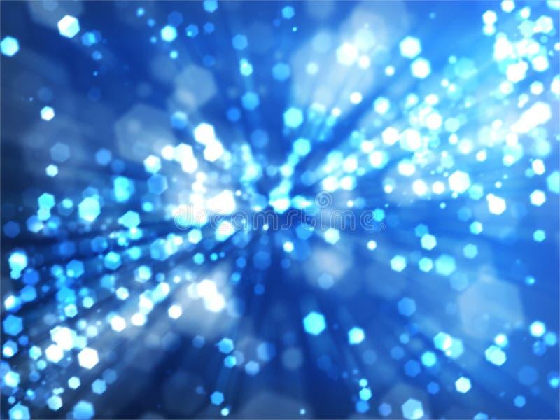 Fond de Bokeh avec les rayons légers bleus illustration stock