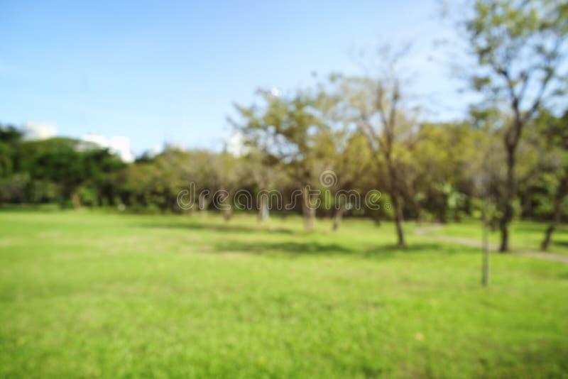 Fond de bokeh d'allée de parc de ville et vraie tache floue de lentille photographie stock libre de droits