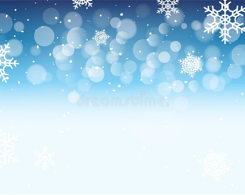 Fond de bokeh d'hiver avec des flocons de neige Décoration de vacances de bokeh de Noël illustration libre de droits