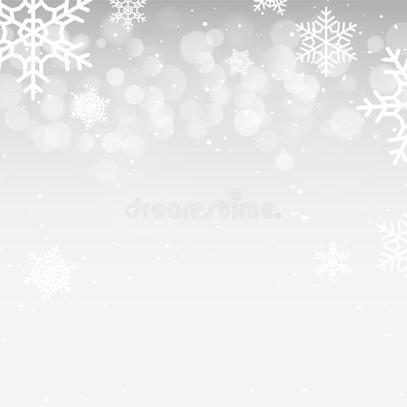 Fond de bokeh d'hiver avec des flocons de neige Décoration de vacances de bokeh de Noël illustration de vecteur