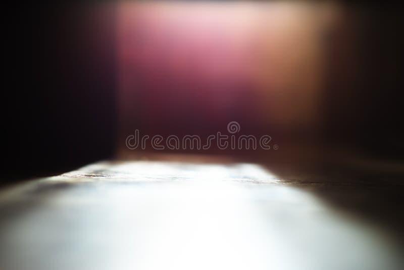 Fond de bokeh de perspective de plancher d'angle faible photo stock