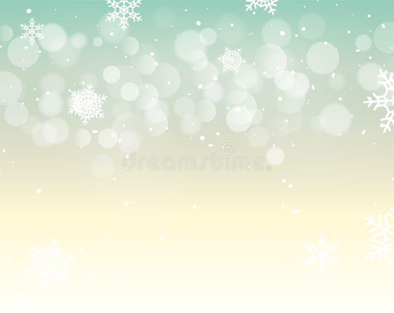 Fond de bokeh de Noël d'hiver avec des flocons de neige Décoration de vacances de bokeh de Noël illustration stock