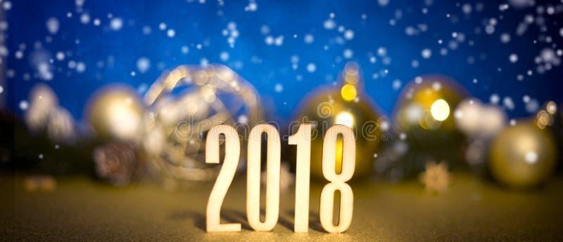 Fond 2018 de bonne année avec la décoration de Noël photographie stock libre de droits