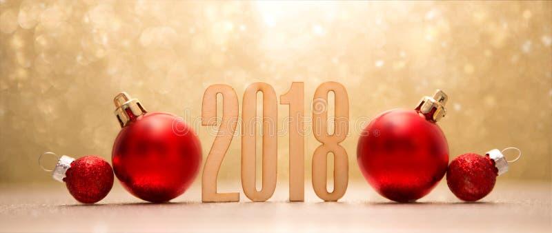 Fond 2018 de bonne année avec la décoration de Noël photos libres de droits