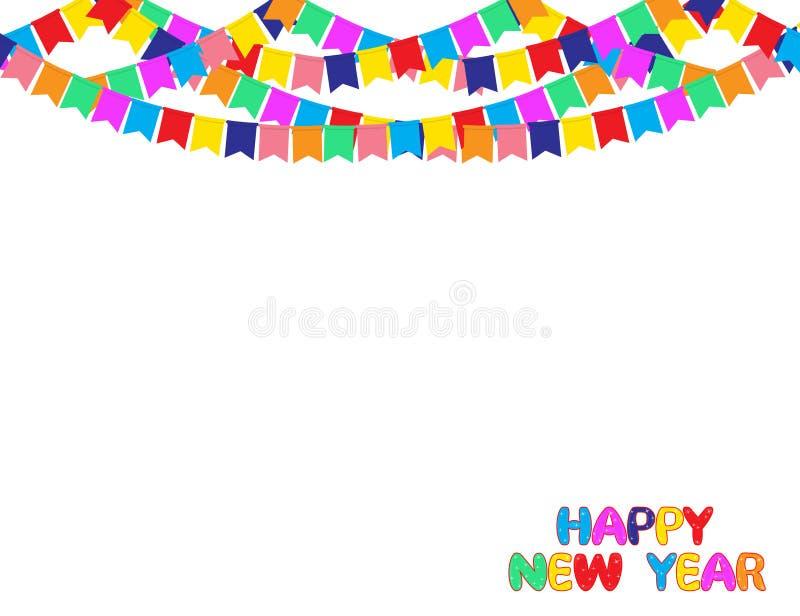 Fond de bonne année avec la guirlande des drapeaux de partie de couleur d'isolement sur le blanc illustration libre de droits