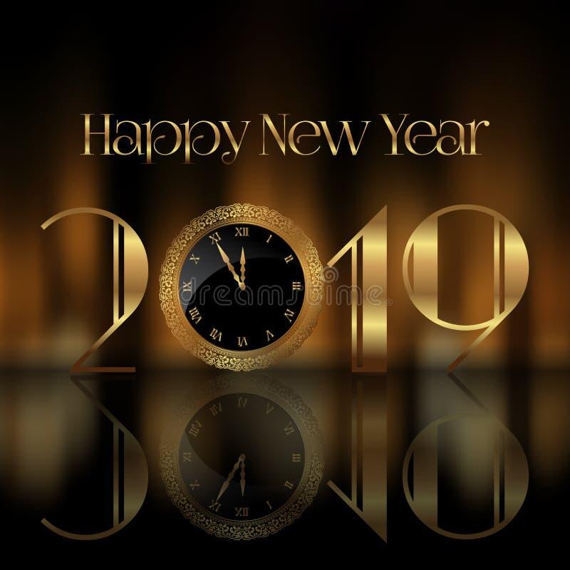 Fond de bonne année avec le visage d'horloge illustration libre de droits