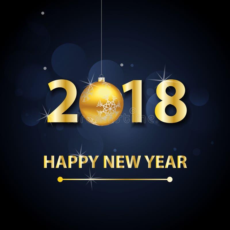 Fond de 2018 bonnes années avec des lettres et des boules d'or illustration libre de droits
