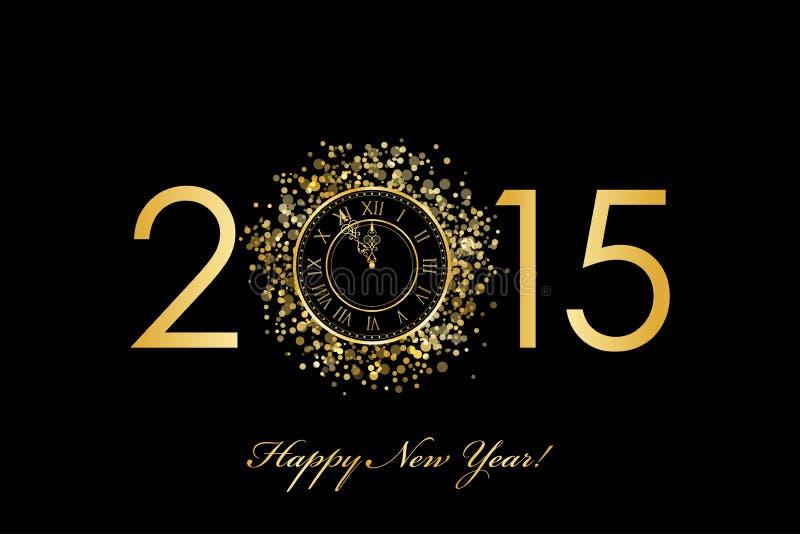 Fond de 2015 bonnes années avec l'horloge d'or illustration stock
