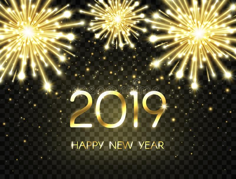Fond de 2019 bonnes années avec le scintillement, les feux d'artifice, les étincelles et les étoiles Contexte de vacances avec le illustration stock