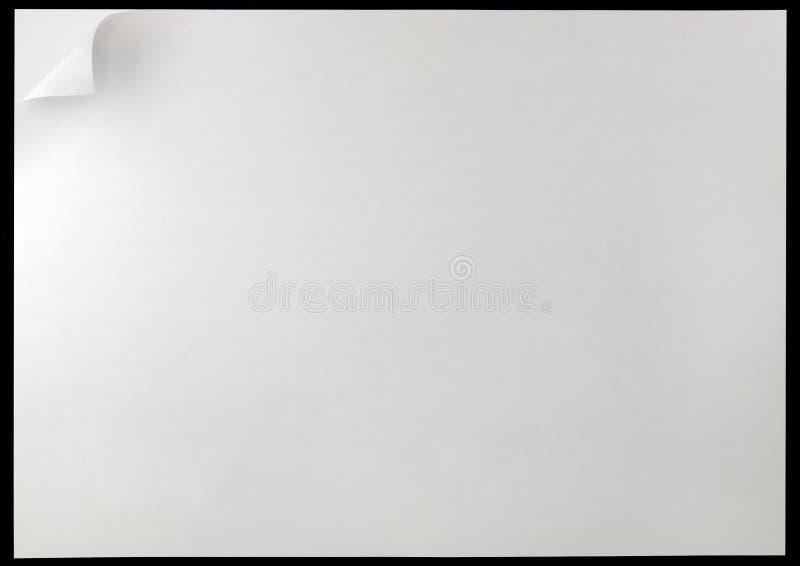 Fond de boucle de page blanc, d'isolement sur le noir, le grand espace horizontal détaillé de copie, tour de papier de pliure de  illustration libre de droits