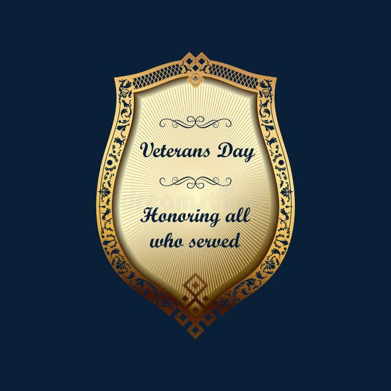 Fond de bouclier d'emblème de jour de vétérans illustration stock
