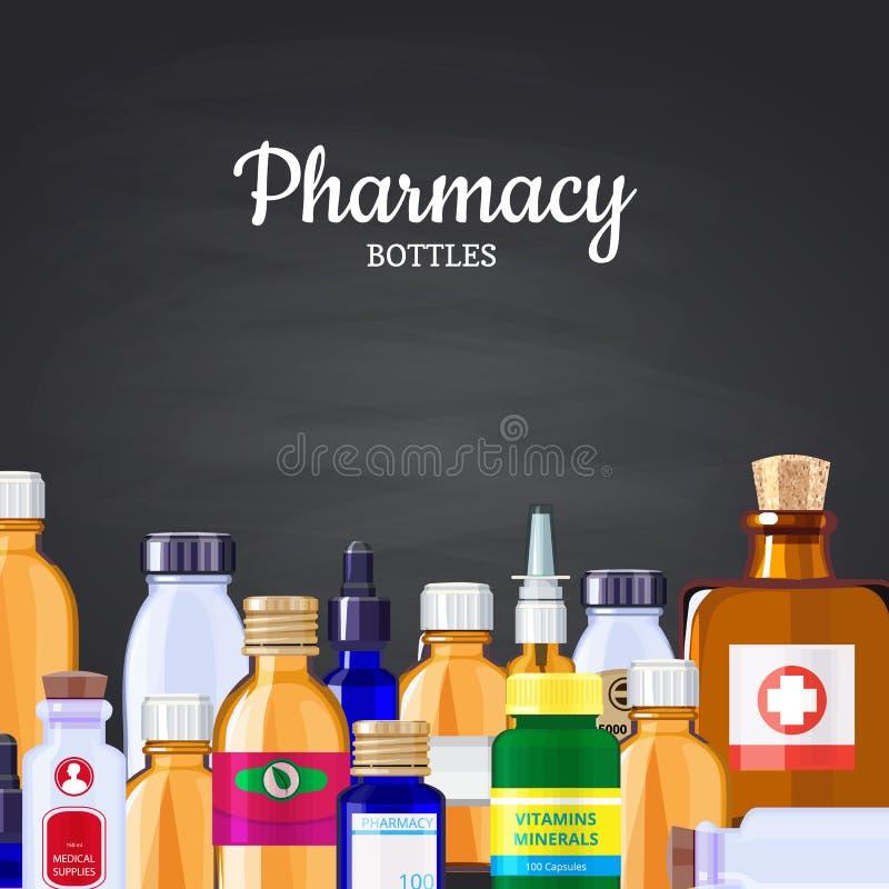 Fond de bouteilles de médecine de pharmacie de vecteur sur l'illustration noire de tableau illustration de vecteur