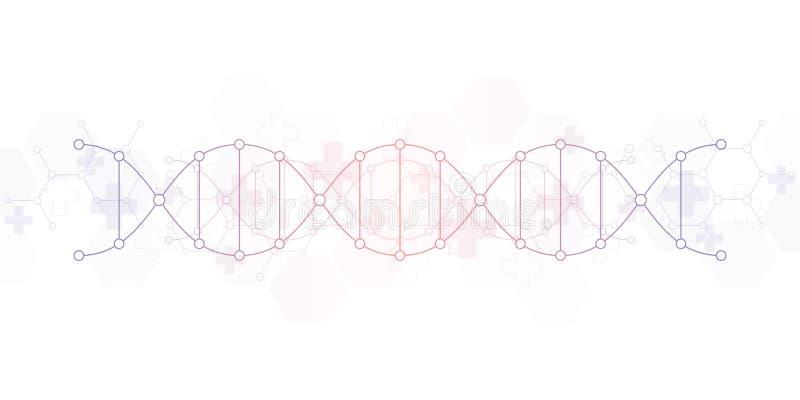 Fond de brin d'ADN et g?nie g?n?tique ou recherche de laboratoire Concept m?dical de technologie et de science illustration libre de droits