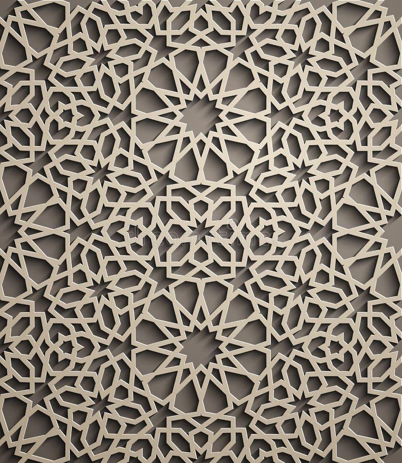 Fond de Brown Vecteur islamique d'ornement, motiff persan éléments ronds islamiques de modèle de 3d Ramadan géométrique illustration libre de droits
