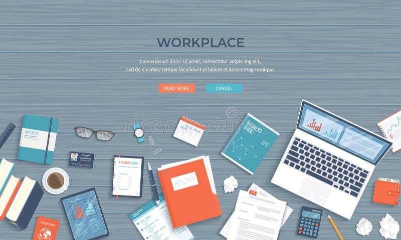 Fond de bureau de lieu de travail Vue supérieure de table en bois, ordinateur portable, dossier, documents Fond d'affaires illustration libre de droits