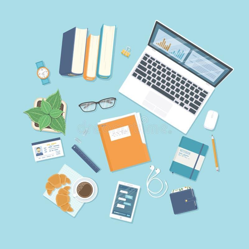 fond de bureau Vue supérieure de table avec des approvisionnements ordinateur portable, livres, documents, dossier illustration de vecteur