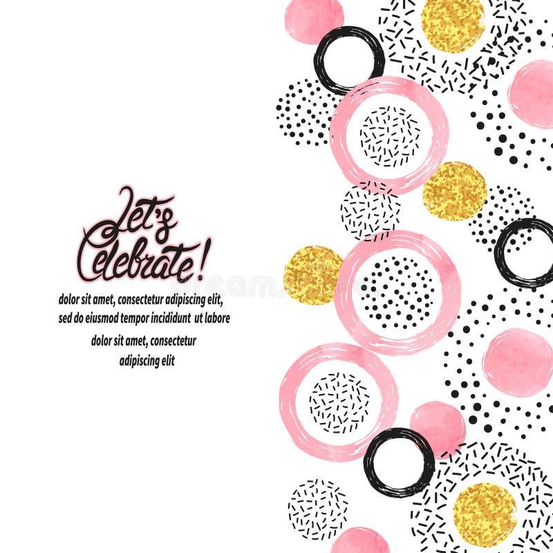 Fond de célébration avec les cercles roses, d'or et noirs illustration stock
