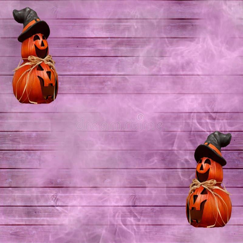 Fond de célébration de Halloween avec les planches en bois pourpres et potirons découpés avec un chapeau de sorcière illustration libre de droits