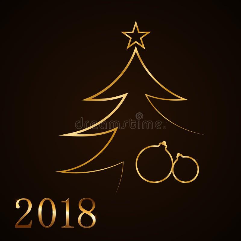 Fond de célébration de Joyeux Noël, arbre de Noël d'or Boîte-cadeau d'or décoratif, boules, étoile Carte simple de croquis illustration libre de droits