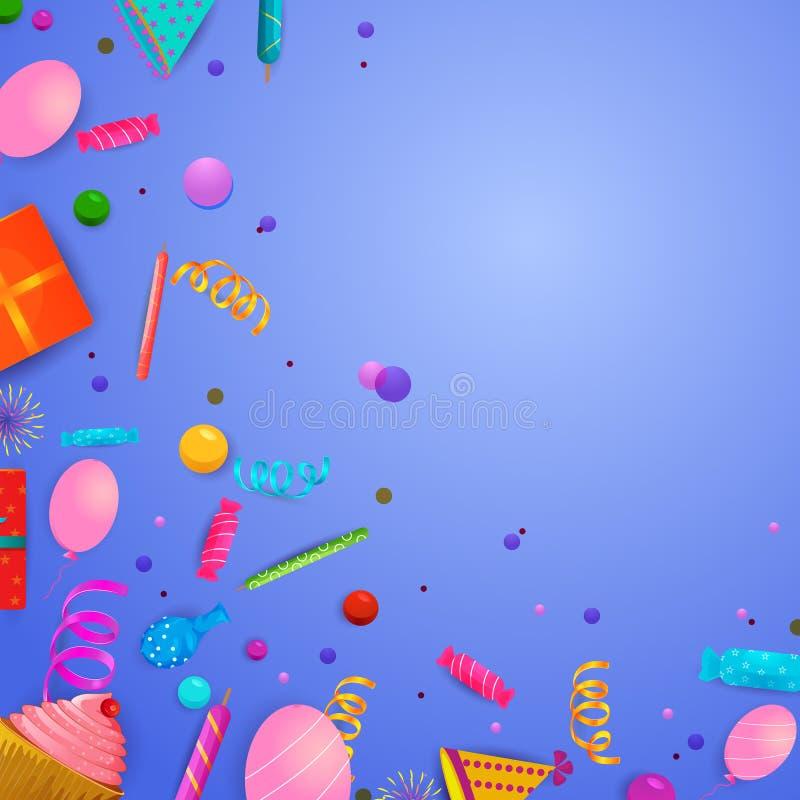 Fond de célébration pour des vacances et événements avec les confettis et la décoration illustration libre de droits