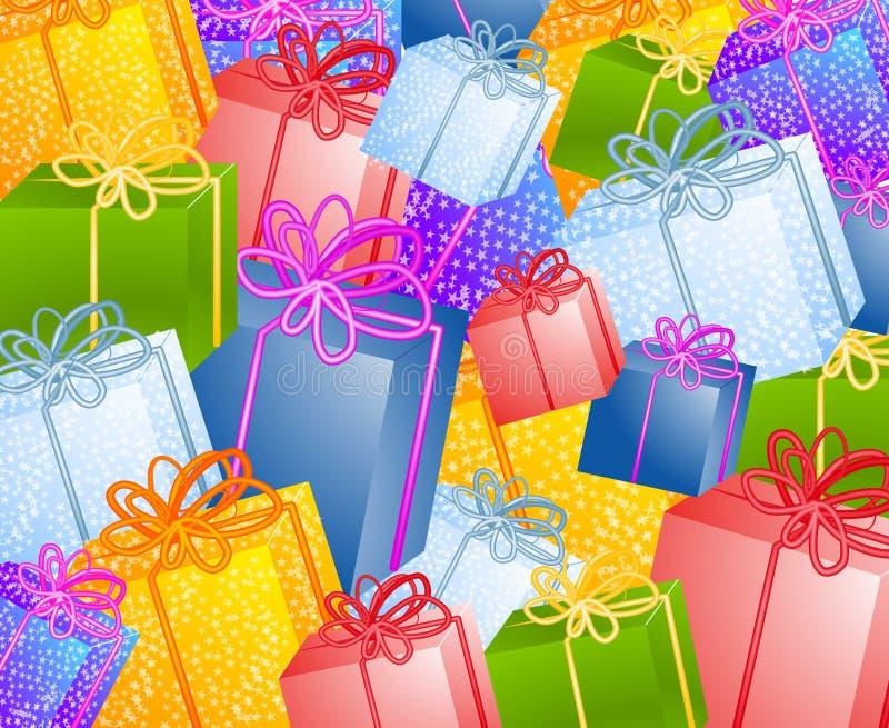 Fond de cadeaux de Noël illustration de vecteur